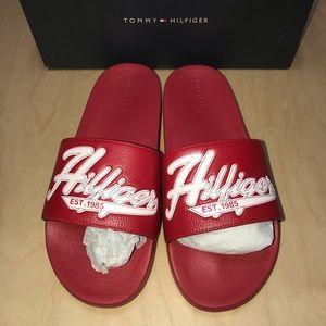 NEW Men's 12 Tommy Hilfiger Erie Red Slide Sandals